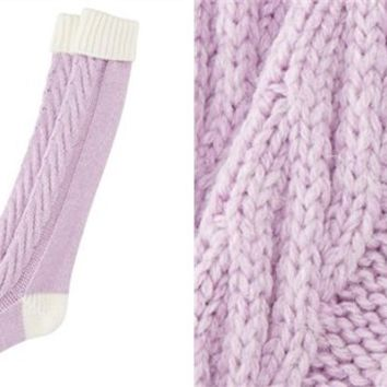 Cabled Cozy Reading Socks - Lavendar