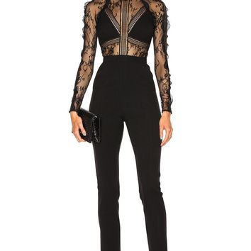 Black Embroidered Lace Jumpsuit