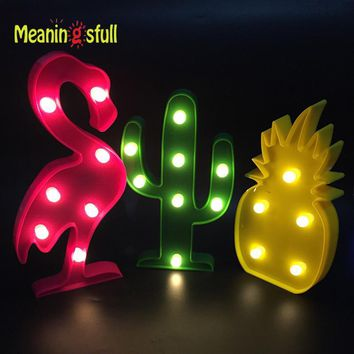 Meaningsfull Cute Flamingo Led Night Light Marquee Sign Pineapple Cactus Wall Lamp For Kids Children Gift Party Home Room Decor