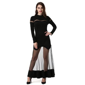 Fashion Woman Mesh Stitching Patchwork Dress Solid Color Long Sleeved All Match Style Lady Cocktail Party Wear Bodycon Dress Hot