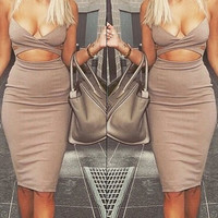 Spaghetti Strap Cut Out Midi Dress