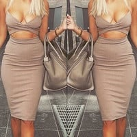 Khaki Bodycon Cut Out Midi Dress