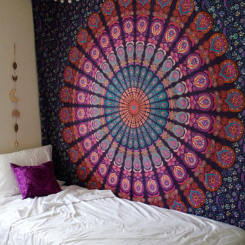 Queen Purple Mandala Tapestry Indian Hippie Tapestry Bohemian Decor Bedspread Throw Queen Mandala Wall Hanging