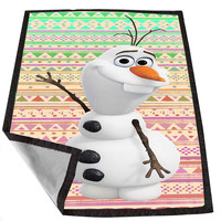 olaf disney frozen on aztec pattern for Kids Blanket, Fleece Blanket Cute and Awesome Blanket for your bedding, Blanket fleece *02*