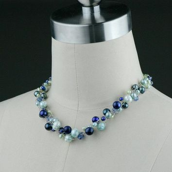 Chunky crocheted wiring pearl choker necklace Bridesmaids gifts Free US Shipping handmade Anni Designs
