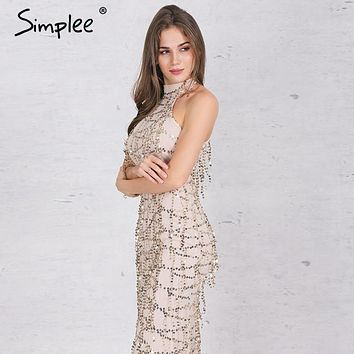Simplee Apparel Elegant sequin tassel maxi mermaid dress Women evening party summer dress 2016 sexy mesh long dress vestidos