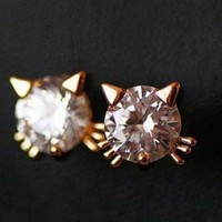 Cute Golden Kitty Rhinestone Fashion Earrings