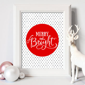 Merry and Bright Red Christmas Art Print Christmas Wall Art Christmas Printable Holiday Art Decor Holiday Print Digital Download