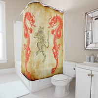 chinese dragons with tiger v 1 shower curtain