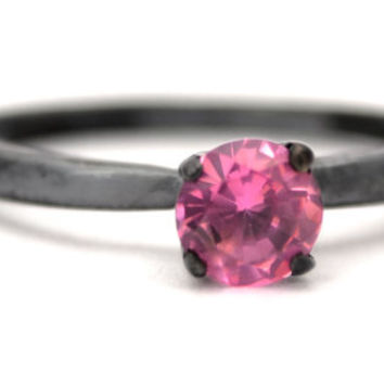 Stacking Ring with Pink Tourmaline in Sterling Silver, Blackened Sterling Silver Tiffany Set Pink Tourmaline Ring