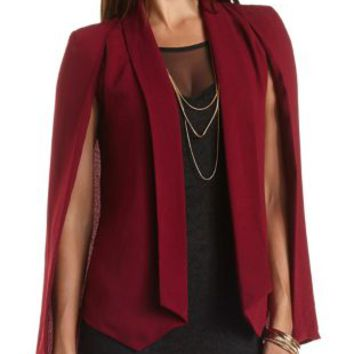 Crepe Cape Blazer by Charlotte Russe - Wine
