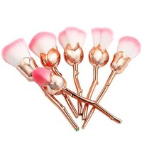 6pcs Rose Shaped Gold Makeup Brushes
