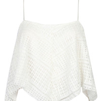 White Asymmetric Lace Cami Top