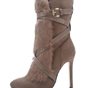 Khaki Suedette Fluffy Panel Wrap Around Knee High Boots