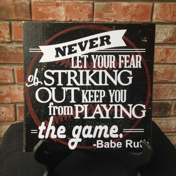 Babe Ruth Hand Painted & Vinyl Wall Sign - Baseball Bathroom Art Sign