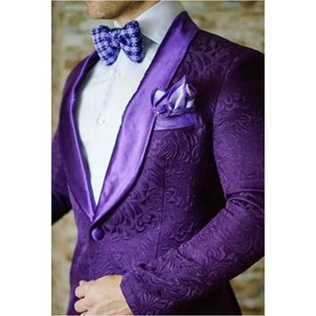 KUSON Latest Design Groomsmen Tuxedos Purple Printing Coat (Jacket+Pants) Men Suit For Wedding Party Prom Best Man Mens Suits