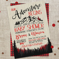 Our Adventure Begins, Co-ed Baby Shower Invitation, Plaid, The Adventure begins, baby shower invite, buffalo plaid, Co-ed shower, printable