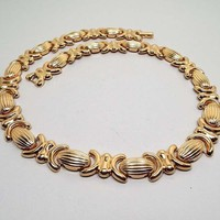 19 Inch 19in Vintage Metal Link Necklace, Avon Signed, Gold Tone, Retro 1970s 70s