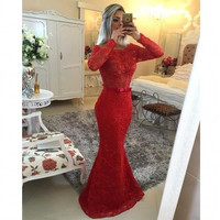 YJ02 Sexy See Through Back Red Lace Long Sleeve Mermaid Prom Dresses 2015 Floor Length Long Evening Dresses Vestido de Festa