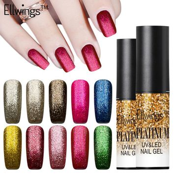Ellwings 1pcs 6ml Persistant UV Nail Gel Platinum Gold Gel Lacquer Gitter Nail Gel Polish Soak Off UV Fingernail Gel
