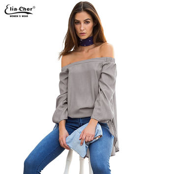 Off Shoulder Women Blouses Slash Neck 2017 Tops Plus Size Casual Cotton Chic Elegant Lady Shirts  Elia Cher Brand Blusas 0318