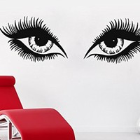 Wall Decals Makeup Girl Woman Cosmetic Eyes Fashion Vinyl Sticker Beauty Salon Home Decor Living Room Decor Art Mural Ms711