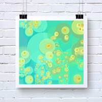 Bubbles Abstract Art. open edition fine art photo print of bubbles34, San Francisco artist Kristin Henry. aqua, yellow, orange Baby Room Art
