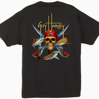 Guy Harvey Pirate Shark Men's Back-Print Tee w/ Pocket in Ocean Blue, Black, Red, Denim Blue or White