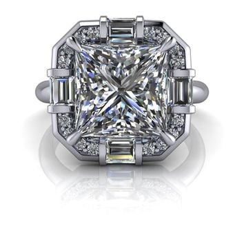 Unique Diamond Halo Engagement Ring Setting - Russian Brilliants Princess Cut Engagement Ring