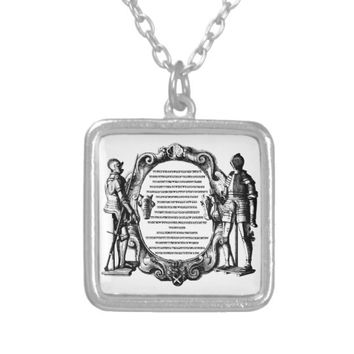 Royal Knights Code medieval Renaissance art Silver Plated Necklace