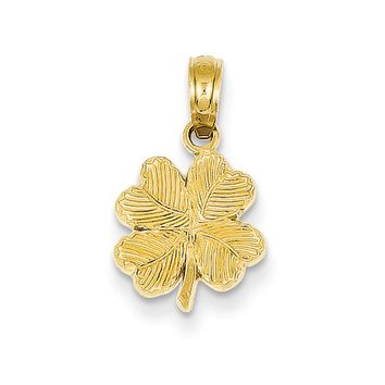 14k Yellow Gold Textured Four Leaf Clover Pendant, 10mm (3/8 inch)