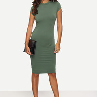Green Crew Neck Cap Sleeve Bodycon Dress