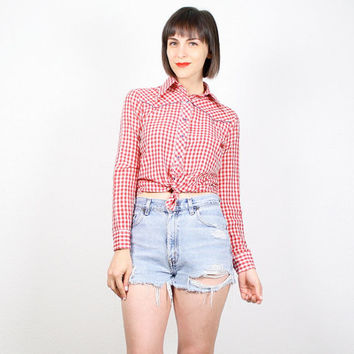 Vintage Western Shirt Red White Blue Cowboy Shirt 1970s 70s Rockabilly Shirt Long Sleeve Red White Gingham Plaid Cowgirl Top XS Extra Small