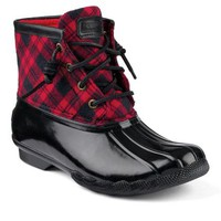 Sperry Top-Sider Saltwater Duck Boot RedPlaid, Size 5M  Women's Shoes