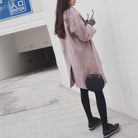 Thick thin wool woolen coat
