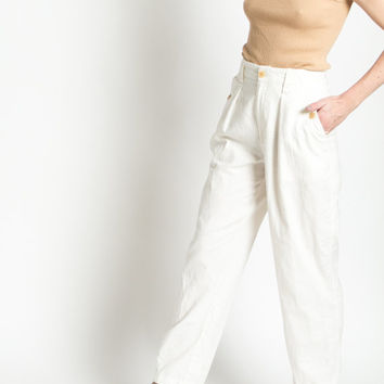 Vintage 80s White Linen and Cotton High Waist Ralph Lauren Trousers | 2/4