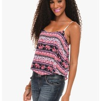 Red Ellie Ethnic Pattern Cropped Cami Top   $10.00   Cheap Trendy Blouses Chic Discount Fashion for