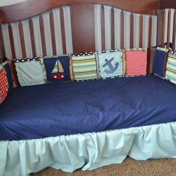 Crib Bumpers, Boat and Anchor Applique, Rag Quilt Style, Baby Boy, Made to Order