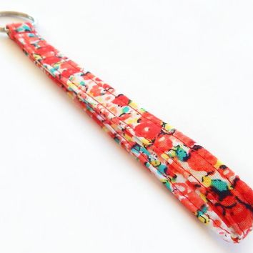 Pretty Floral Print Key Lanyard - Poppy