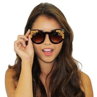Gold Floral Tortoise Beaded Large Frame Cat Eye Sunglasses Fashion Eyewear