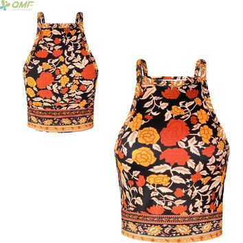 Vintage Flower Tattoo Women Spaghetti Strap Tank Top Boho Beach Floral Bustier Crop Vest Sexy Slim Female Cropped Tops Bohemian