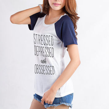 Stressed Depressed Graphic T Shirt Womens Raglan Tee