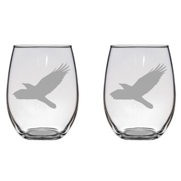 Flying Crow Engraved Glasses, Birds, Bird, Gift Free Personalization