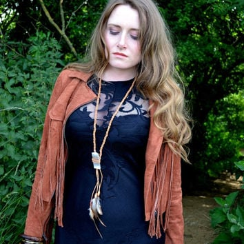 Natural fall autumn selentite crystal feather necklace, Boho, Chic