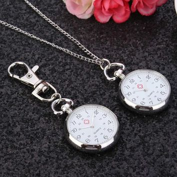 New Steel Nurse Doctor Pendant Pocketed Quartz Watch Red Crossed Nurses Watches Fob Medical Dial Watch With Chain/Keychain