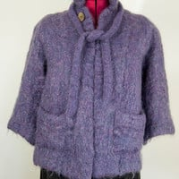 Vintage Womens Mohair Wool Lilac Purple Andrew Stewart Scotland Cape Cardigan Cloak Unique British One Size