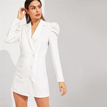 White Double Breasted Puff Sleeve V Neck Notched Solid Long Sleeve Short Dress Women Office Lady Slim Fit Dress