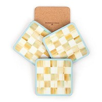 MacKenzie-Childs - Parchment Check Cork Back Coasters - Set of 4