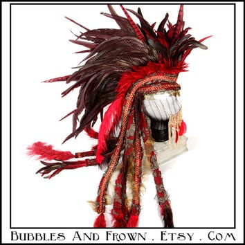 Trojan....Feather Mohawk in Deep Red with Gold Metal Gypsy Veil