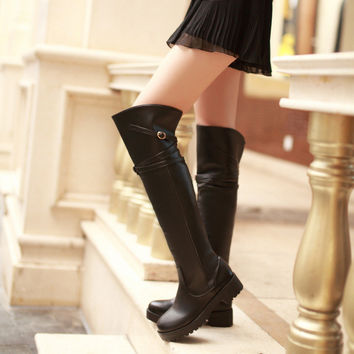 Black Thigh High Boots Shoes Woman Buckle Motorcycle Boots